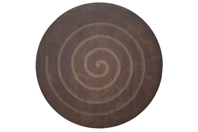 Handmade Round Wool Rug - Swirl - Brown - 160x160cm