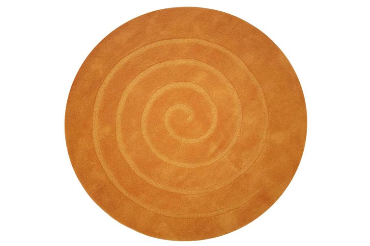 Handmade Round Wool Rug - Swirl - Orange - 160x160cm