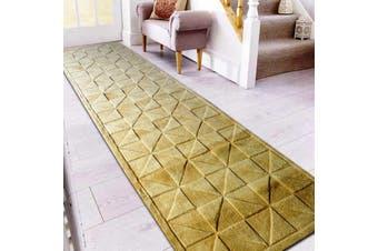 Handmade Contemporary Wool Rug - Triangle - Irish Cream - 80x300cm