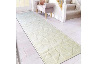 Handmade Contemporary Wool Rug - Triangle - Ivory - 80x300cm