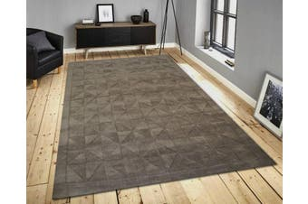 Handmade Contemporary Wool Rug - Metallic Grey - 160x230cm