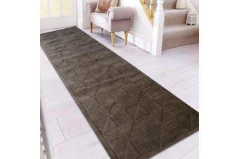 Handmade Contemporary Wool Rug - Metallic Grey - 80x300cm