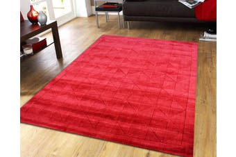 Handmade Contemporary Wool Rug - Triangle - Red