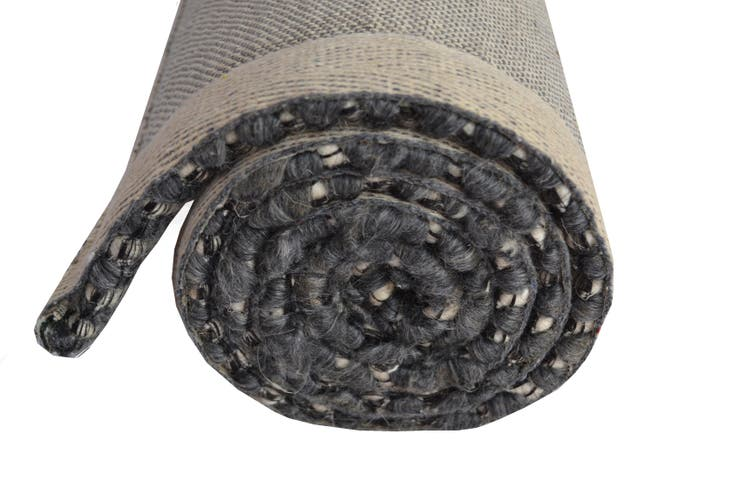 Designer Handwoven Beads Wool Rug - 6218 - Charcoal - 110x160cm