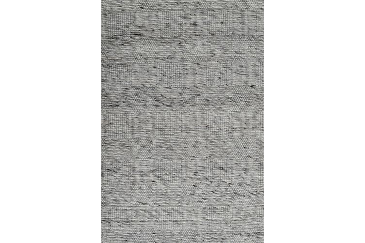 Modern Handwoven Wool Rug - Blocks 6219 - Ash Grey - 110x160cm
