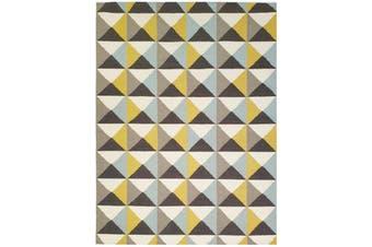 Geometrical Woollen Durrie Rug - Triangle 1005 - Yellow/Blue