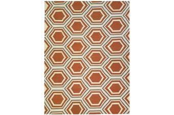 Geometrical Woollen Durrie Rug - Honeycomb1036 - Apricot