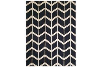Geometrical Woollen Durrie Rug - Chevron 1054 - Black