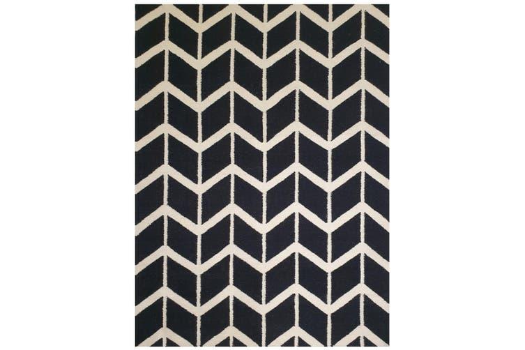 Geometrical Woollen Durrie Rug - Chevron 1054 - Black - 190x280cm