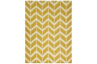 Geometrical Woollen Durrie Rug - Chevron 1054 - Yellow - 190x280cm