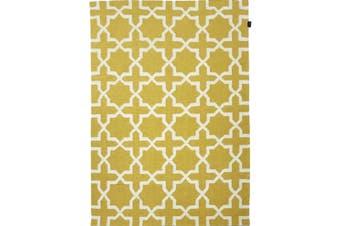 Geometrical Woollen Durrie Rug - 2003 - Yellow