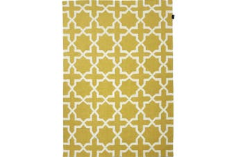 Geometrical Woollen Durrie Rug - 2003 - Yellow - 190x280cm