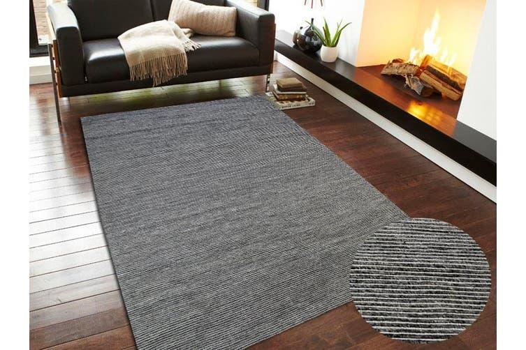 Modern Handwoven Fine Wool Rug - Ridges - Charcoal - 160x230cm