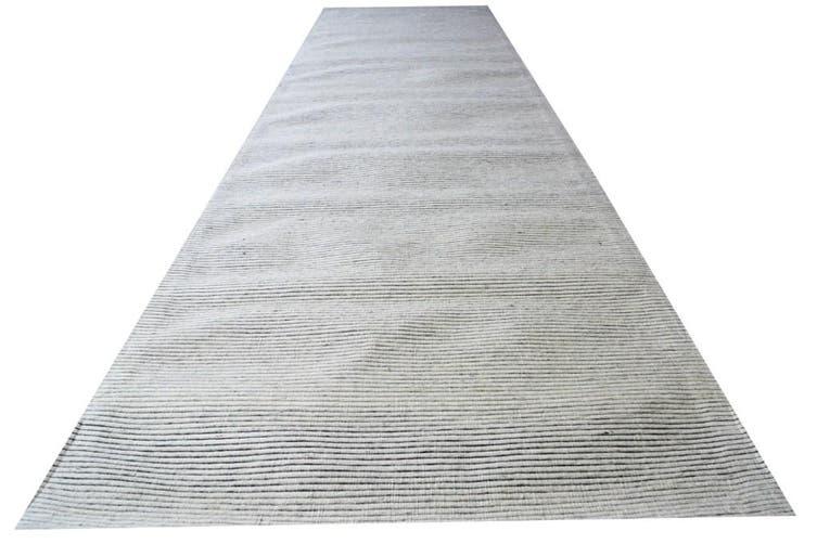 Modern Handwoven Fine Wool Rug - Ridges - Ivory - 80x300cm