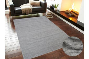 Modern Handwoven Fine Wool Rug - Ridges - Silver