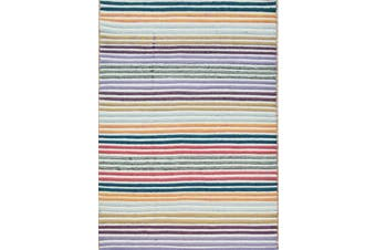 Designer Handwoven Striped Wool Rug - Multi