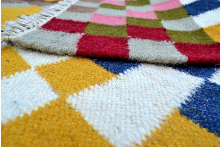 Handwoven Multicoloured Woolen Durrie Rug - Pixel 20057 - Multi - 110x160cm