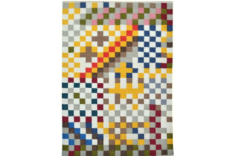 Handwoven Multicoloured Woolen Durrie Rug - Pixel 20057 - Multi - 160x230cm
