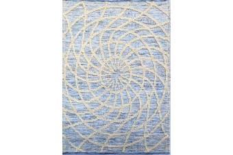 Designer Patterned Handwoven Woollen Rug - Zaal - Ivory/Blue