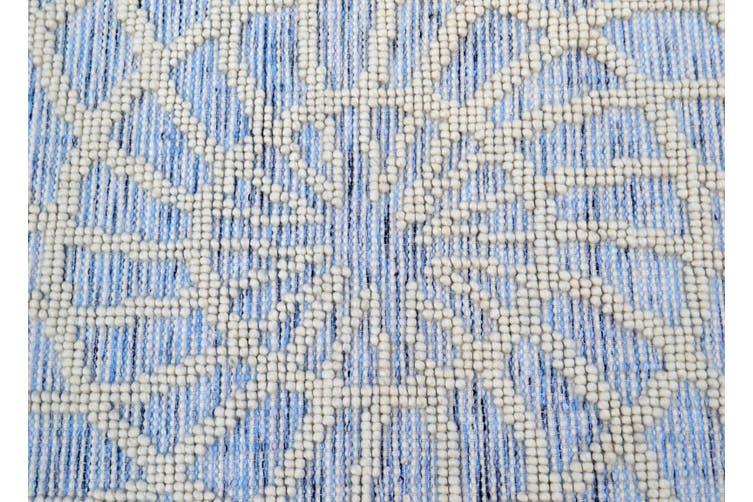 Designer Patterned Handwoven Woollen Rug - Zaal - Ivory/Blue-110x160cm