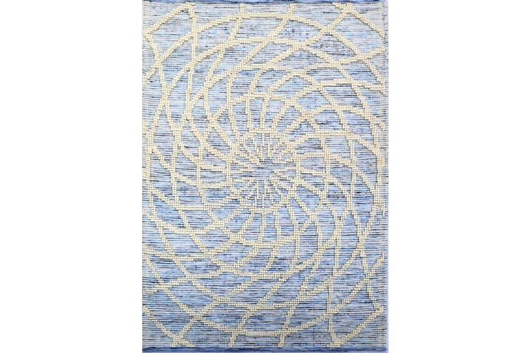 Designer Patterned Handwoven Woollen Rug - Zaal - Ivory/Blue-190x280cm