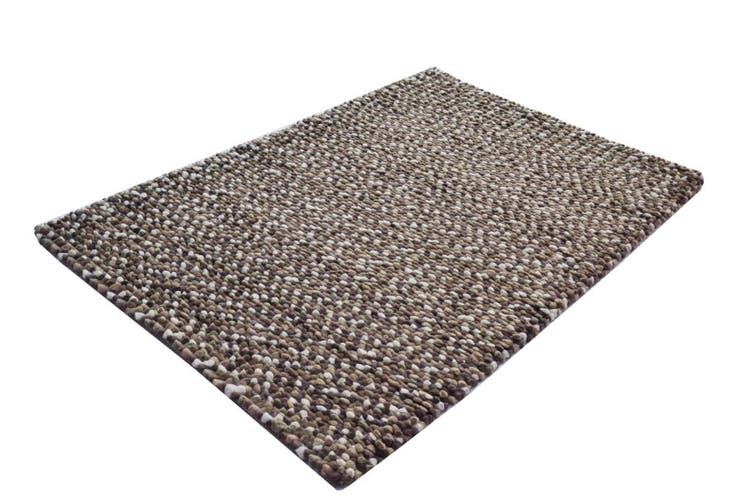 Handwoven Chunky Wool Rug - Jelly Bean - Brown - 120x170cm
