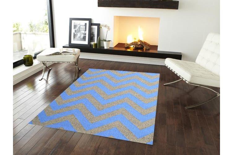 Moderno Woollen Durrie Rug - Blue/Natural - 160x230cm