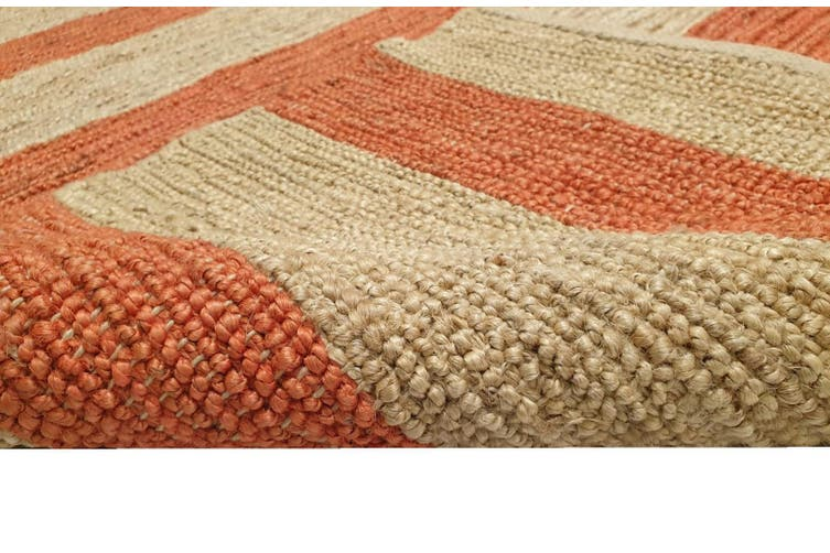Handmade Jute Rug-Kerla 1020-Natural/Orange - 160x230cm