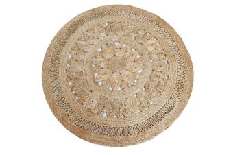 Tribal Round Jute Rug - 1079 - Natural - 120x120cm
