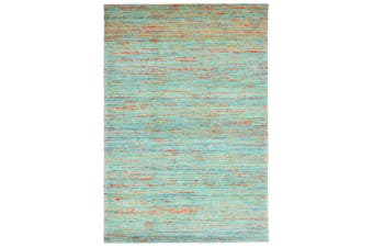 Trendy Hand Woven Jute & Silk Rug - Stripe 6001 - Natural/Aqua