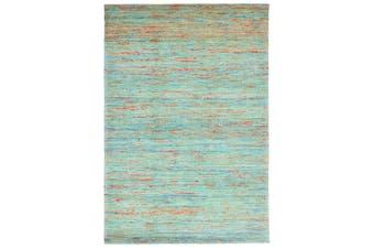 Trendy Handwoven Jute & Silk Rug - Stripe 6001 - Natural/Aqua - 110x160cm
