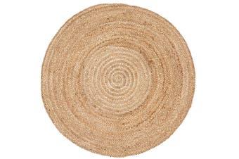 Handmade Round Jute Rug - Plain - Natural