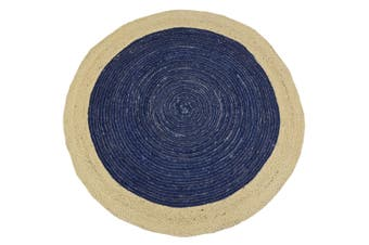 Tribal Handwoven Round Jute Rug - Ripple - Navy/Natural - 100x100cm