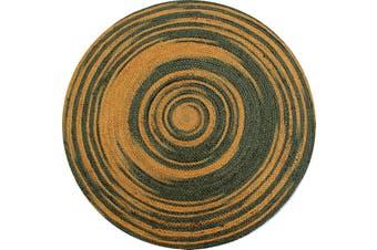 Tribal Handwoven Round Jute Rug - Spiral - Grey/Gold - 100x100cm