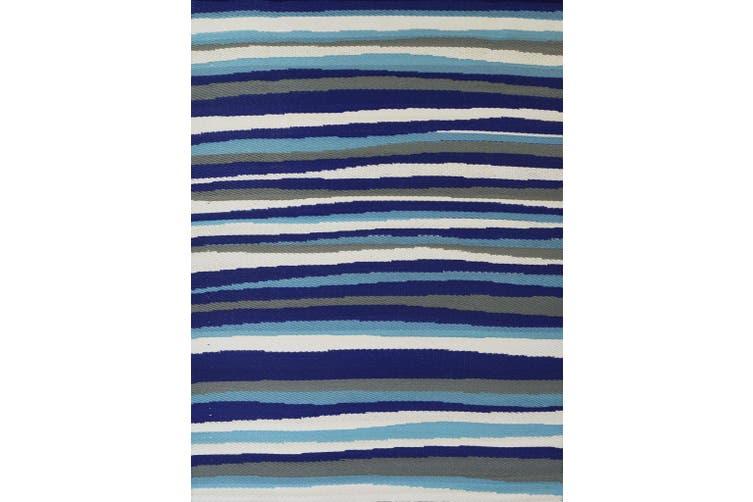 Vibrant & Reversible Outdoor/Indoor Mats - Chatai-2646-Blue - 90x150