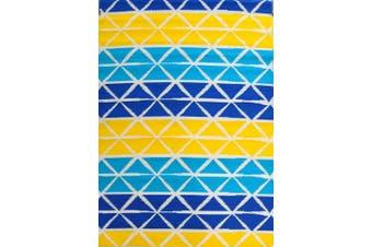 Vibrant & Reversible Outdoor/Indoor Mats - Chatai-2685-Aqua Yellow - 90x150