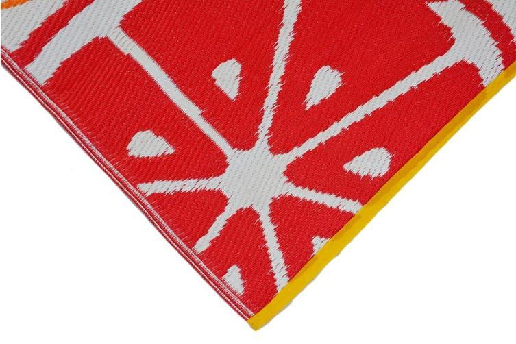 Vibrant & Reversible Outdoor/Indoor Mats - Chatai-2690-Orange Multi - 90x150