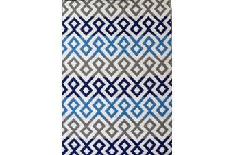 Vibrant & Reversible Outdoor/Indoor Mats - Chatai-2696-Blue Grey - 120x170