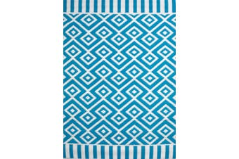 Vibrant & Reversible Outdoor/Indoor Mats - Chatai A002 - Aqua/White
