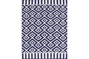 Vibrant & Reversible Outdoor/Indoor Mats - Chatai A002 - Navy/White