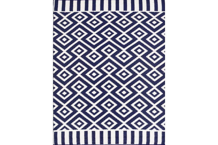 Vibrant & Reversible Outdoor/Indoor Mats - Chatai A002 - Navy/White - 180x270