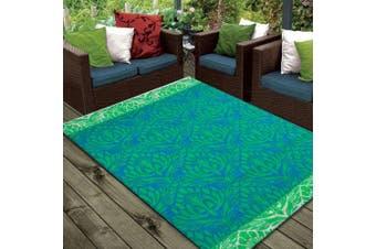 Vibrant & Reversible Outdoor/Indoor Mats - Chatai Peacock - Ocean Green - 150x240