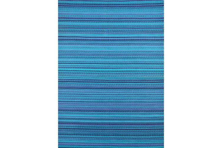 Vibrant & Reversible Outdoor/Indoor Mats - Chatai Rongoli - Blue-90x150