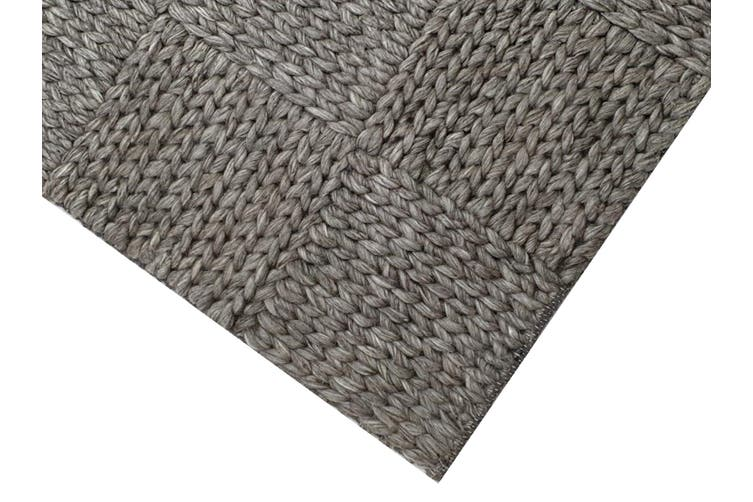 Excellent Quality Handwoven Wool Rug - Braided 1014 - Ash Grey - 160x230cm