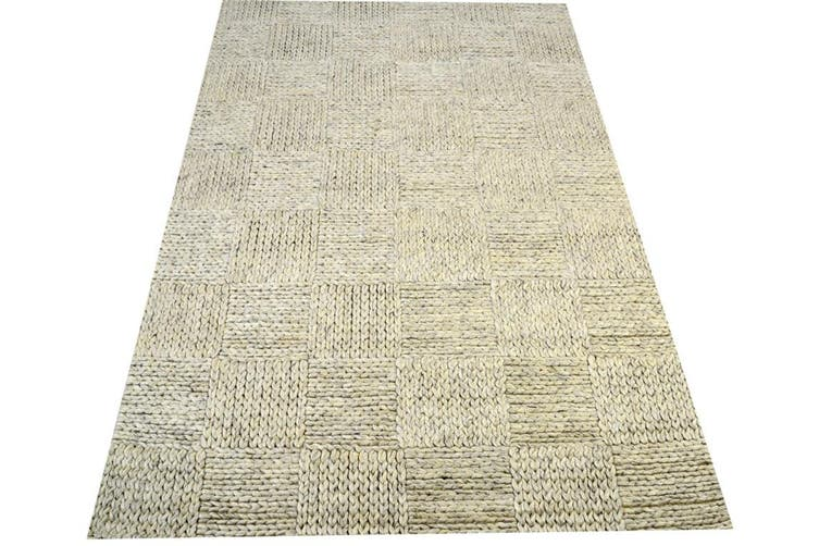 Excellent Quality Handwoven Wool Rug - Braided 1014 - Silver Beige - 160x230cm