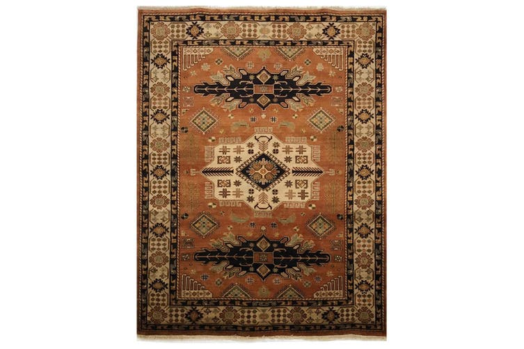 Handmade Kazak Vegetable Dyed Wool Rug - Rust - 150x240cm