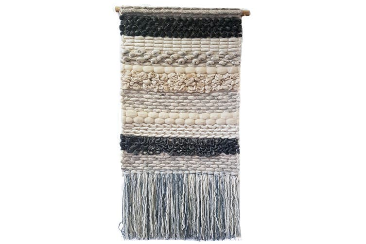 Artisan Decor Handwoven Woolen Wall Hanging - AD005 - Ivory/Black - 50x100cm