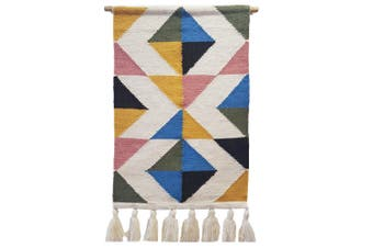 Artisan Decor Handwoven Woolen Wall Hanging - AD006 - Ivory/Multi - 50x90cm