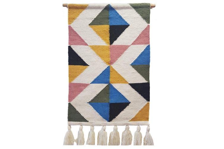 Artisan Decor Handwoven Woolen Wall Hanging - AD006 - Ivory/Multi - 50x90cm
