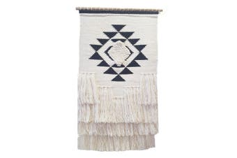 Artisan Decor Handwoven Woolen Wall Hanging - AD007 - Ivory/Black - 50x90cm